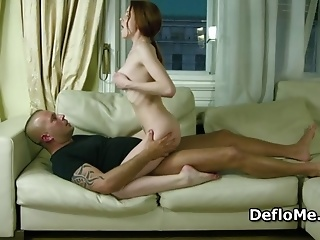 Redhead Virgin Gives Her First Blowjob And Rides Cock